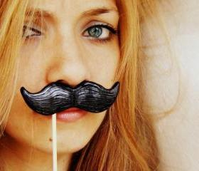Single Black Mustache on a Stick - ironic gift idea