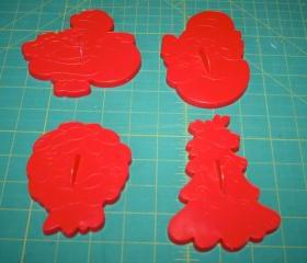 Wilton Cookie Cutter .. Woodridge IL .. 4 Pieces from Christmas Series