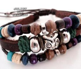 Silver owl charm multi strand leather bracelet