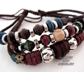 multi strand beaded leather bracelet
