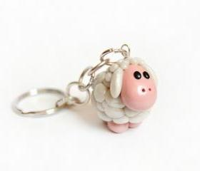 White pearl sheep keychain in polymer clay 