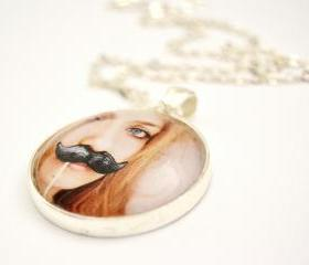 Girl with the moustache necklace, round glass pendant
