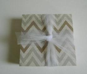 Tan and Grey Chevron Print Coasters