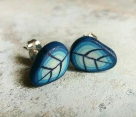 Blue leaves earrings - polymer clay ear cuff 