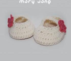 Off White Mary Jane Baby Booties Crochet PATTERN, SYMBOL FORM (pdf)
