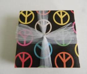 Peace Sign Print Tile Coasters