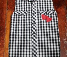 Reconstructed Black and White Punk Rock Top with Red Hearts