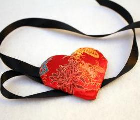 Red Satin Heart Eyepatch Eye Patch Butterflies Floral Design with Black Ribbon Ties