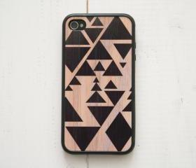iPhone 4, 4S Case - Triangle Geometric / Black on Wood