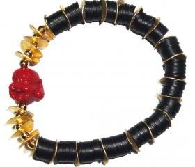 JET VINTAGE AFRICAN DISC BEADS BUDDHA BRACELET