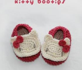 Hello Kitty Baby Booties Crochet PATTERN, SYMBOL DIAGRAM (pdf)