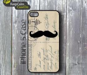 iPhone 5 Case, Mustache Vintage Postcard iPhone Case Hard Fitted iPhone 5 Case, iPhone 5 Hard Case