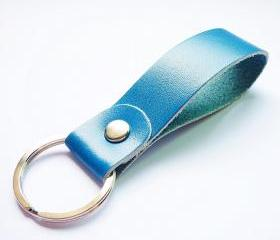 Navy Blue Genuine Leather Key Fob/Key Keeper/Key Holder/Key Ring - Gift under 10 - For Bag
