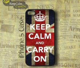 iPhone 5 Case, Keep Calm Carry On UK iPhone Case Hard Fitted iPhone 5 Case, iPhone 5 Hard Case