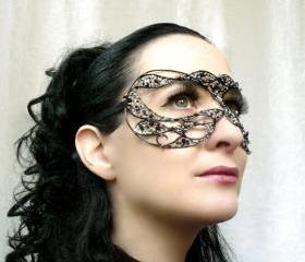 Black and silver masquerade mask, handmade