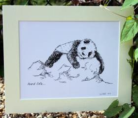 Original art illustrative print, Panda (10' x 12')