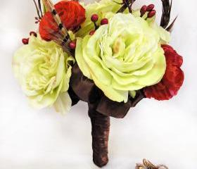  Brown Feather Silk Bridal Bouquet Fall Wedding Flowers