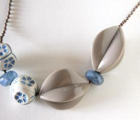 denim and cappuccino necklace - vintage beads geometry - handmade glass beads