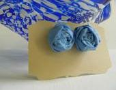 Light Blue Fabric Rosette Earrings