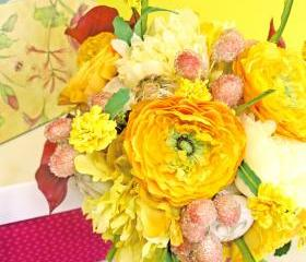 Yellow Wedding Bouquet, Fleur de lis Bridal Bouquet