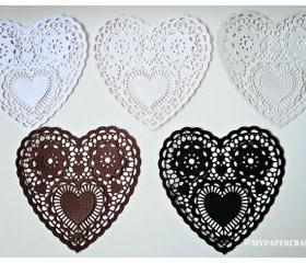 Heart shape Lace Doily (Basic Color) / pack 