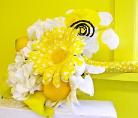 Lemon Yellow Bridal Bouquet, White Silk Wedding Flowers