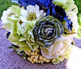 Navy Blue Bridal Bouquet, Green Wedding Flowers