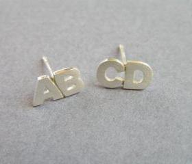 Initial Earrings, Sterling Silver Studs, Two Letters Studs, Alphabet Jewelry, Personalized jewelry