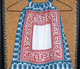 Girl's smock apron style dress or tunic in white cotton with rusty red and teal Moroccan mosaic sytle print in 2 /3 T