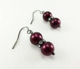 Dark Plum Earrings Beaded Jewelry Pearls Affordable Rockstar Trendy Autumn Fashion