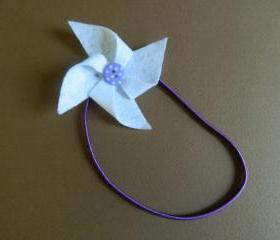 White and Purple Polka Dot Pinwheel Headband