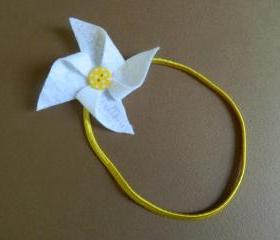 White and Yellow Polka Dot Pinwheel Headband