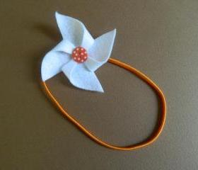 White and Orange Polka Dot Pinwheel Headband