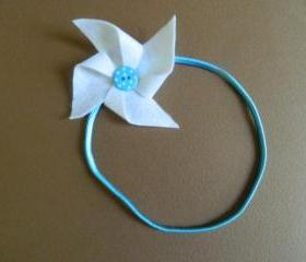White and Blue Polka Dot Pinwheel Headband