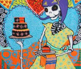 Skeleton Cupcake Baker, 50s Pin Up Rockabilly Day of the Dead Calavera Art Print