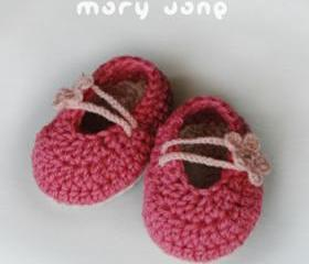 Pinky Red Mary Jane Baby Booties Crochet PATTERN DIAGRAM (pdf)