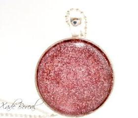 Handmade pink glitter glass pendant necklace