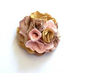 Romantic recycled T-shirt fabric flower brooch: sand, pink, mauve