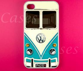 Iphone 4 Case - VW Minibus Teal Iphone Case,Iphone 4s Case