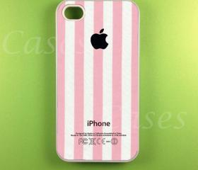 Pink Stripe w/ Apple Logo Iphone 4s Case, Iphone Case, Iphone 4 Case
