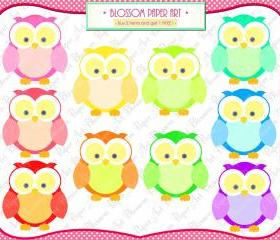 Owls Rainbow Clipart - Printables - Cardmaking - Invitations - Parties - Scrapbooking - 300dpi - 1364