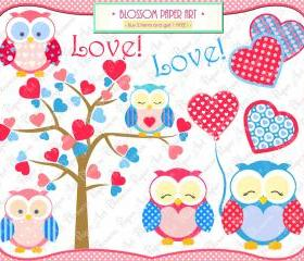Love Owls Clipart - Printables - Personal and Commercial Use - 300dpi - Cardmaking - Scrapbooking - 1363