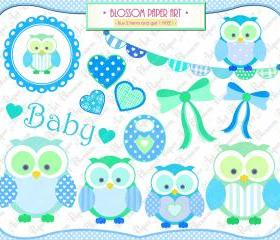 Baby Owl Boy - Clipart - Baby Shower - Printables - Personal and Commercial Use - 300dpi - 1365