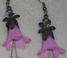 Pink Trumpet Flower Earrings
