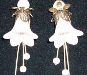 Earrings White Trumpet Flowers with Bronze Findings