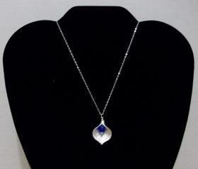 Sterling Silver Calla Lily with Smooth Drilled Blue Topaz Necklace