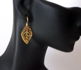 Earrings Small Gold or Sterling Leaf Dangle