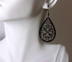 Earrings Black Filigree Swirly Dangles