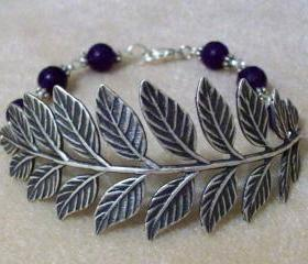 Bracelet Antiqued Leaf with Purple Amethyst Gemstone Beads Faceted Round 8 mm Russian