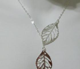 Necklace Delicate Sterling Silver Leaf Lariat Dainty
